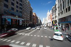 THEMENBILD - die stark befahrene Hauptstraße Gran Via. Die Stadt Madrid ist eine der größten Metropolen in Europa. Sie liegt im Zentrum der iberischen Halbinsel und ist Hauptstadt von Spanien. Aufgenommen am 25.03.2016 in Madrid ist Spanien // Madrid is on of the biggest metropolis in Europe. It is located in the center of the Iberian Peninsula and is the capital of Spain. Spain on 2016/03/25. EXPA Pictures © 2016, PhotoCredit: EXPA/ Jakob Gruber