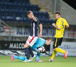 Falkirk's Rory Loy in on  Livingston keeper Darren Jamieson.<br /> Falkirk 0 v 0  Livingston, Scottish Championship game played 21/10/2014 at The Falkirk Stadium.
