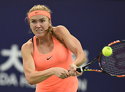 ZHUHAI, Nov. 5, 2016  Elina Svitolina of Ukraine returns a hit during the women's singles semifinal against Johanna Konta of Britain at the WTA Elite Trophy tournament in Zhuhai, south China's Guangdong Province,on Nov. 5, 2016. Elina Svitolina won 2-1. (Credit Image: © Lu Hanxin/Xinhua via ZUMA Wire)