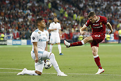 (L-R) Casemiro of Real Madrid, James Milner of Liverpool FC during the UEFA Champions League final between Real Madrid and Liverpool on May 26, 2018 at NSC Olimpiyskiy Stadium in Kyiv, Ukraine