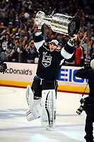 Ishockey , 13 June 2014 Los Angeles Kings Goalie Jonathan Quick 32  Skates with The Stanley Cup during The Post Game Celebration of The Stanley Cup Final between The New York Rangers and The Los Angeles Kings AT Staples Center in Los Angeles Approx The Kings defeated The Rangers 3 2 to Win The Stanley Cup NHL Ice hockey men USA Jun 13 Stanley Cup Final Rangers AT Kings Game 5 <br /> NORWAY ONLY<br /> <br /> INNGÅR IKKE I FASTAVTALER
