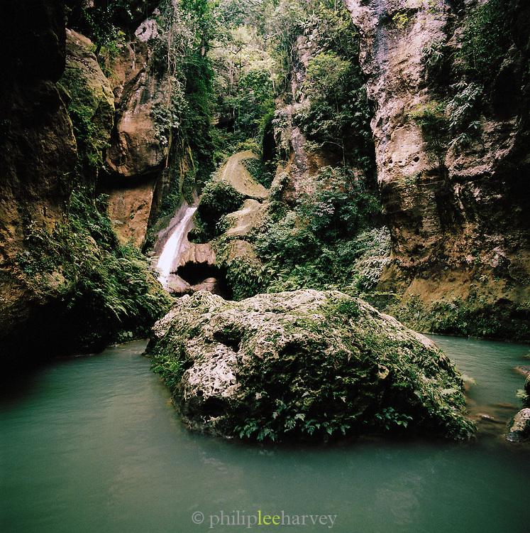 A waterfall in Bassin Bleu Protected Area, near Jacmel, Haiti
