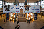 Entrance area for the World Dog Show 2017 at the Trade Fair in Leipzig, Germany. Over 31,000 dogs from 73 nations will come together from 8-12 November 2017 in Leipzig for the biggest dog show in the world.
