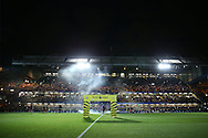 a view of Lighting display and flares  before k/o. Premier league match, Chelsea v Liverpool at Stamford Bridge in London on Friday 16th September 2016.<br /> pic by John Patrick Fletcher, Andrew Orchard sports photography.