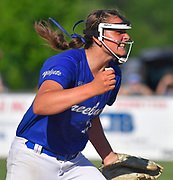 Freeburg pitcher Lizzy Ludwig yells after striking out a Nashville batter to end an inning late in the game. Freeburg defeated Nashville in the Class 2A sectional softball title game at Nashville High School in Nashville, IL on Thursday June 10, 2021. Tim Vizer/Special to STLhighschoolsports.com.