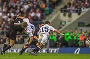 Twickenham. Surrey. UK England vs New Zealand, Autumn Internationals.<br /> Matt DAWSON, lifted in the tackleby Marty HOLAH.<br /> 09/11/2002<br /> International Rugby England vs New Zealand [Mandatory Credit Peter SPURRIER/Intersport Images]