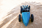 Image of a blue 1925 Bugatti Type 35 race car which raced at Le Mans