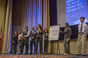 Purchase, NY – 31 October 2014. Valhalla High School students presnting their case. (Left to right: Jenna Goldberg, Jordyn  Gardner, Michael Nduka, Tyler Willis, Gabrielle Orr, Daniela Espinosa, , Jessica Tesoro, Alec Uy.) The Business Skills Olympics was founded by the African American Men of Westchester, is sponsored and facilitated by Morgan Stanley, and is open to high school teams in Westchester County.