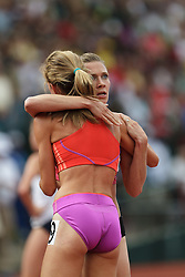 Olympic Trials Eugene 2012: women's 1500 meters final, Morgan Uceny congratulated by Sarah Bowman after winning race to make Olympic team