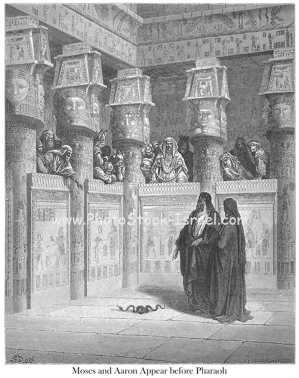 Moses and Aaron Before Pharaoh Exodus 7:10 From the book 'Bible Gallery' Illustrated by Gustave Dore with Memoir of Doré and Descriptive Letter-press by Talbot W. Chambers D.D. Published by Cassell & Company Limited in London and simultaneously by Mame in Tours, France in 1866