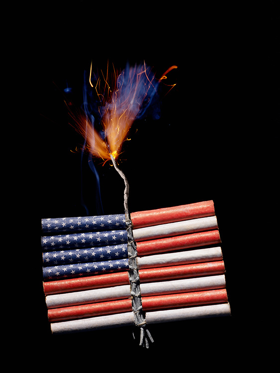 A bundle of firecrackers with the image of the American flag printed on it