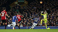 Zlatan Ibrahimovic of Manchester United scores past Maarten Stekelenburg of Everton during the Premier League match at Goodison Park, Liverpool. Picture date: December 4th, 2016.Photo credit should read: Lynne Cameron/Sportimage