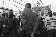 Protesters gather in Berlin in a demonstration for the workers rights.