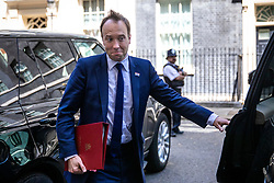 © Licensed to London News Pictures. 21/05/2019. London, UK. Secretary of State for Health and Social Care Matt Hancock leaves 10 Downing Street after the Cabinet meeting. Prime Minister Theresa May is expected to make a statement to Paliament outlining changes to the Withdrawal Agreement Bill before it is brought back before Parliament. Photo credit: Rob Pinney/LNP