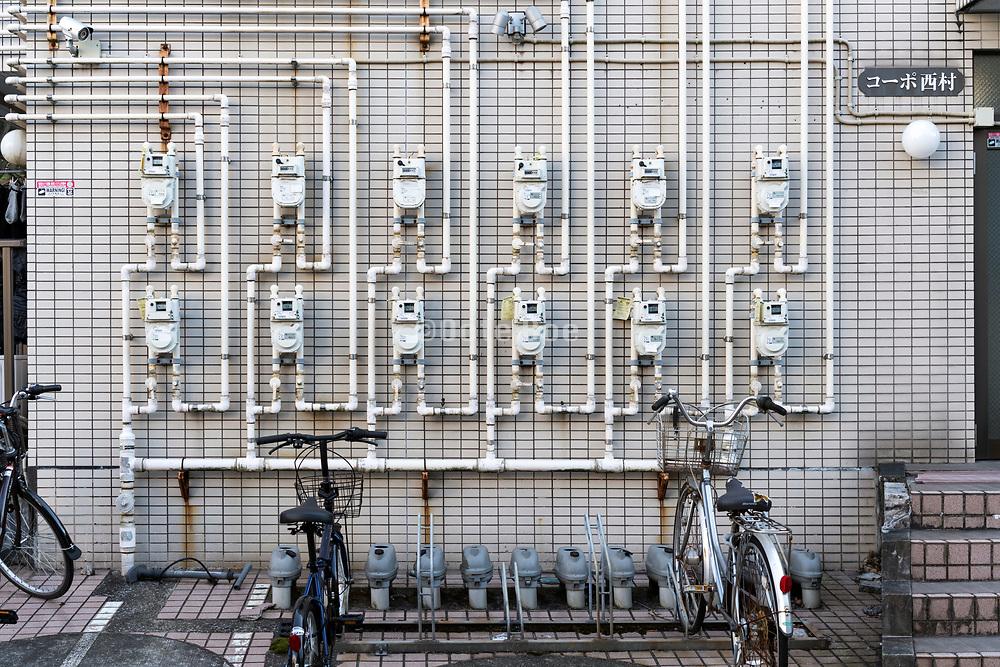 many residential gasmeters outdoors Japan Yokosuka