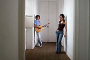 Belo Horizonte_MG, Brasil...Retrato dos musicos Bianca Luar e Ian Guedes na Casa do Conde de Santa Marinha. ..Portrait of musicians Bianca Luar and Ian Guedes in Casa do Conde de Santa Marinha...Foto: LEO DRUMOND / NITRO.