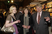 Julia Johnson Mr. and Mrs. and Stanley Johnson, Book party for 'The Dream of Rome' by Boris Johnson. Daunts bookshop. Marylebone High St. London.  1 February 2006. -DO NOT ARCHIVE-© Copyright Photograph by Dafydd Jones 66 Stockwell Park Rd. London SW9 0DA Tel 020 7733 0108 www.dafjones.com