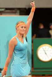 May 11, 2017 - Madrid, Spain - KRISTINA MLADENOVIC of France celebrates winning her quarterfinal match v. S. Cirstean in the Mutua Madrd Open tennis tournament. (Credit Image: © Christopher Levy via ZUMA Wire)
