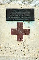 Clara Barton Memorial (red cross) Antietam National Battlefield, Sharpsburg, Maryland, USA.