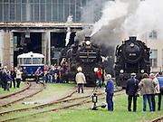 "Strasshof, Austria.<br /> Opening of the season at Das Heizhaus - Eisenbahnmuseum Strasshof, Lower Austria's newly designated competence center for railway museum activities.<br /> L: ÖBB 5081 ""Schienenbus (Rail Bus)"", 1964-1967.<br /> M: kkStB 310.23 (Austrian Imperial Railways), ca. 1911-1916.<br /> R: ÖBB 52.100 (Austrian State Railways) from 1943- the locomotive ""that rebuilt Europe"" after WW2."