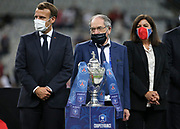 French President Emmanuel Macron, President of French Football Federation (FFF) Noel Le Graet, Mayor of Paris Anne Hidalgo during the trophy ceremony following the French Cup final football match between Paris Saint-Germain (PSG) and AS Saint-Etienne (ASSE) on Friday 24, 2020 at the Stade de France in Saint-Denis, near Paris, France - Photo Juan Soliz / ProSportsImages / DPPI