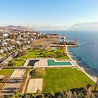 Aerial view of Bellerive swimming area, Lausanne, Switzerland.