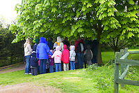 school children visiting a farm. Sheltering from rain and looking at a wildlife pond