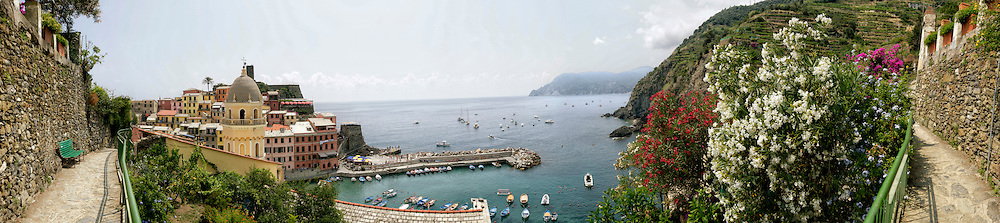 The Church of Santa Margherita d'Antiochia, tower houses, and the Vernazza Marina taken from the Blue Path,  Italy.