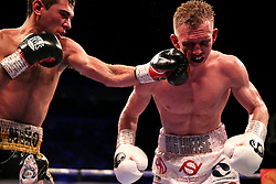 Sergio Garcia (left) lands a punch on Ted Cheeseman during the European Super-Welterweight Championship contest at The O2 Arena, London.