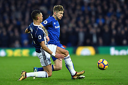 Everton's Jonjoe Kenny (right) and West Bromwich Albion's Kieran Gibbs compete for possession