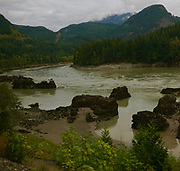 Rocky Mountaineer train, Canadian Cascades, mountain views, Fraser River