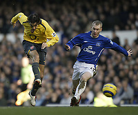 Photo: Aidan Ellis.<br /> Everton v Arsenal. The Barclays Premiership. 21/01/2006.<br /> Arsenal's Robert Pires fires in a shot as Everton's Tony Hibbert makes the Challenge