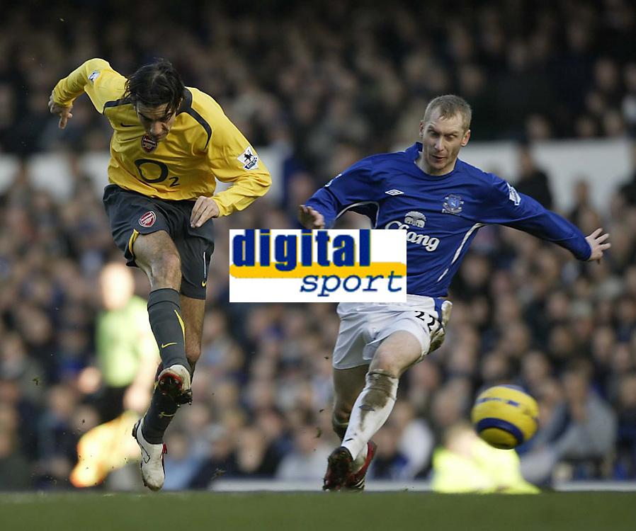 Photo: Aidan Ellis.<br /> Everton v Arsenal. The Barclays Premiership. 21/01/2006.<br /> Arsenal's Robert Pires fires in a shot as Everton's Tony Hibbert makes the Challenge