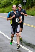 Jeffrey Burns (#72) and Mark Lucier  during the run segment in the 2018 Hague Endurance Festival Sprint Triathlon