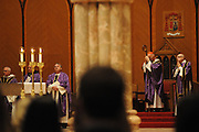 """Chicago Archbishop Francis Cardinal George gathers with students and staff of the Catholic high schools from the dioceses of Chicago,  Rockford and Joliet for a mass at Holy Name Cathedral to focus on promoting service leadership in the church under the theme """"A Call To Serve""""."""