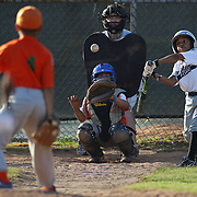 A young batter swings at a pitch during the Norwalk Little League baseball competition at Broad River Fields, Norwalk, Connecticut. USA. Photo Tim Clayton