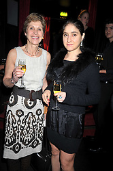 "Left to right, GEORGINA ANDREWS and her daughter JESSICA ANDREWS at a party to promote the ""American Songbook in London"" aseries of intimate concerts featuring 1959 Broadway songs, held at Pizza on The Park, Hyde Park Corner, London on 18th March 2009."