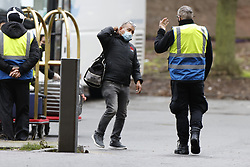 © Licensed to London News Pictures. 15/02/2021. London, UK. Passengers arrive for quarantine at a Holiday Inn hotel near Heathrow Airport. People entering the UK from a 'red list' of 33 high risk countries will have to quarantine at hotels for 10 days to try and stop new coronavirus variants entering the country. Photo credit: Peter Macdiarmid/LNP