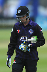 Peter Handscomb of Gloucestershire leaves the field after being caught by Graham Wagg of Glamorgan - Photo mandatory by-line: Dougie Allward/JMP - Mobile: 07966 386802 - 12/06/2015 - SPORT - Cricket - Bristol - County Ground - Gloucestershire v Glamorgan - Natwest T20 Blast