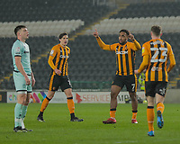 Hull City's Mallik Wilks celebrates with Hull City's Gavin Whyte and Alfie Jones jpoining him after he scores his side's first goal  in the 24th minute<br /> <br /> Photographer Lee Parker/CameraSport<br /> <br /> The EFL Sky Bet League One - Hull City v Rochdale - Tuesday 2nd March 2021 - KCOM Stadium - Kingston upon Hull<br /> <br /> World Copyright © 2021 CameraSport. All rights reserved. 43 Linden Ave. Countesthorpe. Leicester. England. LE8 5PG - Tel: +44 (0) 116 277 4147 - admin@camerasport.com - www.camerasport.com