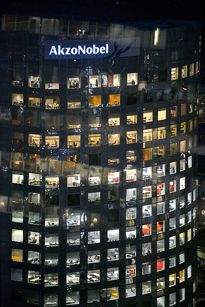 Nederland, Amsterdam, 28-1-2013Serie beelden van de zuidas en rondweg a10 vanuit een hoge lokatie, het anb-amro gebouw. Kantoor Akzo Nobel, hoofdkantoor akzo-nobel, akzonobel.Foto: Flip Franssen/Hollandse Hoogte