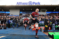 Saracens Lock (#4) Steve Borthwick (capt) leads his side out for the first half of the match - Photo mandatory by-line: Rogan Thomson/JMP - Tel: Mobile: 07966 386802 16/02/2013 - SPORT - RUGBY - Allianz Park - Barnet. Saracens v Exeter Chiefs - Aviva Premiership. This is the first Premiership match at Saracens new home ground, Allianz Park, and the first time Premiership Rugby has been played on an artificial turf pitch.