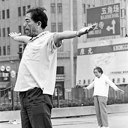 Shanghai. Juni 1995. TIL ARKIV.<br /> Qi-gong gymnastik i Shanghai.<br /> FOTO: THOMAS SØNDERGAARD