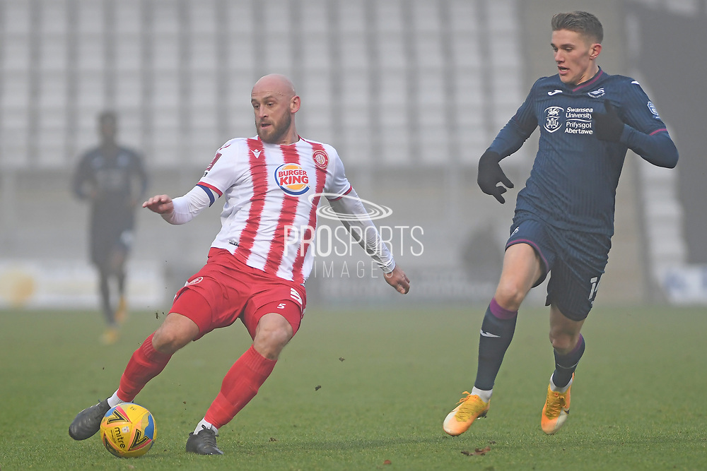 Stevenage defender Scott Cuthbert(5) during the FA Cup match between Stevenage and Swansea City at the Lamex Stadium, Stevenage, England on 9 January 2021.