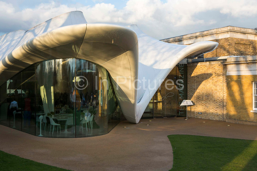 The Magazine designed by Zaha Hadid Architects,  part of the newly refurbished Serpentine Sackler Gallery, Kensington Gardens,  London. UK