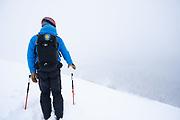 Diamond Peaks Ski Patrol director Owen Richard prepares to ski off the ridgetop near Montgomery Pass, Feb. 6, 2021.