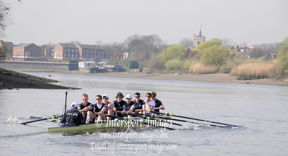 Putney. London. Tideway Week build up to the   2011 University Boat Race over parts of the Championship Course - Putney to Mortlake.  Oxford, OUBC [Blue Boat], power through the stroke during a practice Start. Thursday 24/03/2011  [Mandatory Credit; Karon Phillips/Intersport-images]..Crew:.OUBC. Bow Moritz HAFNER, 2 Ben MYERS, 3 Alec DENT, 4 Ben ELLISON, 5 Karl HUDSPITH, 6 Constantine LOULOUDIS, 7 George WHITTAKER, Stroke Simon HISLOP and Cox Sam WINTER-LEVY.... 2011 Tideway Week