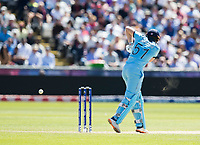 Cricket - 2019 ICC Cricket World Cup - Group Stage: England vs. NZ<br /> <br /> Jonny Blarstow of England hits for 4 to reach 100 from Tim Southee of New Zealand, at the Riverside, Chester-le-Street, Durham.<br /> <br /> COLORSPORT/BRUCE WHITE