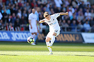Tom Carroll of Swansea city shoots and scores his teams 2nd goal.  Premier league match, Swansea city v Stoke City at the Liberty Stadium in Swansea, South Wales on Saturday 22nd April 2017.<br /> pic by Andrew Orchard,