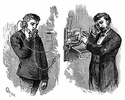 New York telephone subscriber making call through operator at telephone exchange. Apparatus in  picture used an Edison transmitter and a 'pony-crown' receiver (being held to subscriber's ear on right). Wood engraving, Paris, 1883.